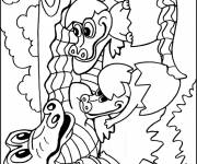 Free coloring and drawings Alligator and cubs Coloring page