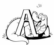 Free coloring and drawings Alligator and letter A Coloring page