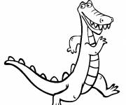 Free coloring and drawings Cartoon alligator Coloring page