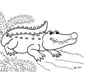 Free coloring and drawings Easy alligator Coloring page