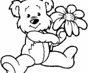 Coloring pages Bear and flower