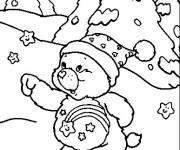 Coloring pages Calinours having fun in the snow