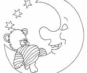 Coloring pages Sleeping bear on the moon