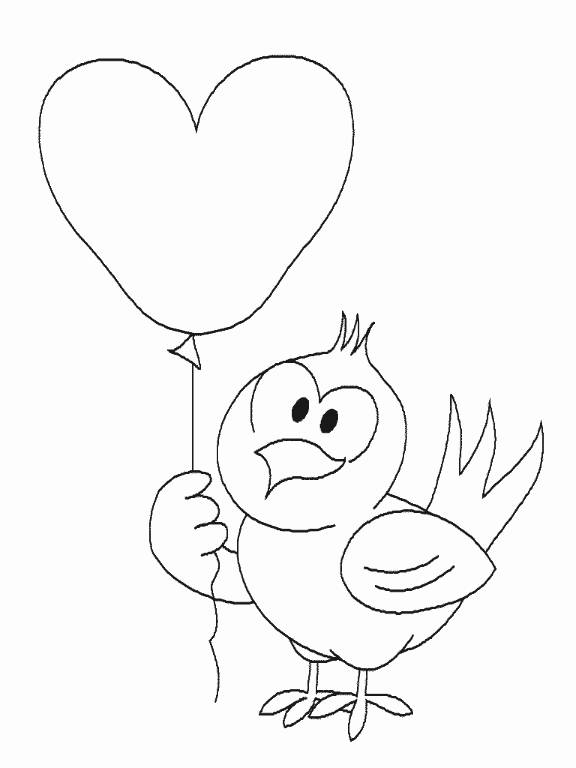 Free coloring and drawings Bird and heart Coloring page