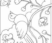Free coloring and drawings Bird in nature Coloring page