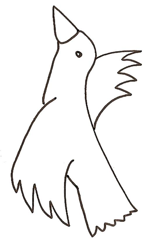 Free coloring and drawings Bird looks up Coloring page