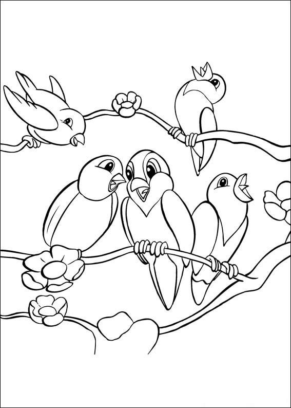 Free coloring and drawings Birds singing Coloring page