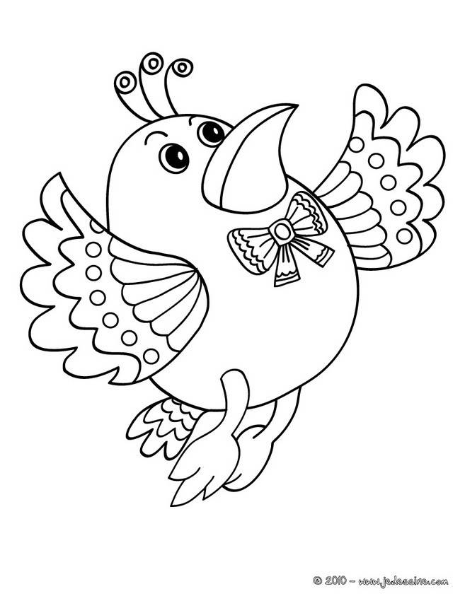 Free coloring and drawings Elegant bird Coloring page