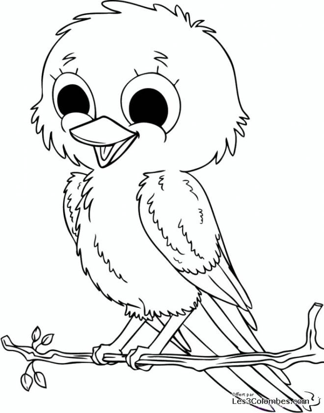 Free coloring and drawings Singing bird Coloring page