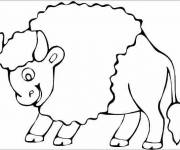 Coloring pages A cute bison