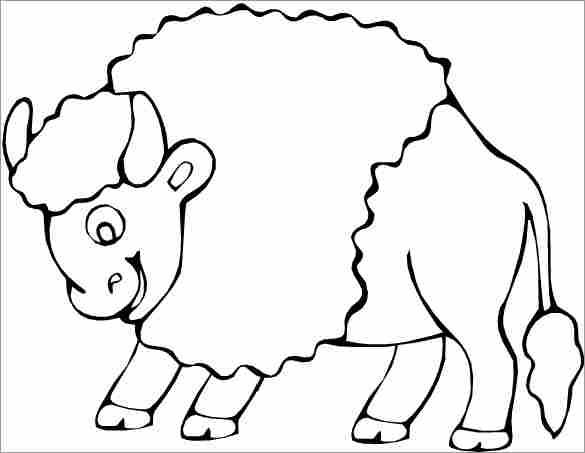 Free coloring and drawings A cute bison Coloring page