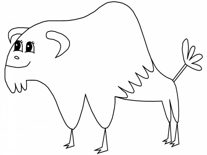 Free coloring and drawings Bison for child Coloring page