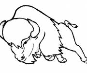 Coloring pages Bison in attack