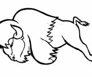 Coloring pages Bison while jumping