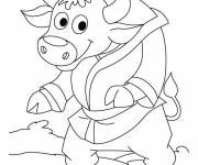 Coloring pages Funny bison wearing his dressing gown