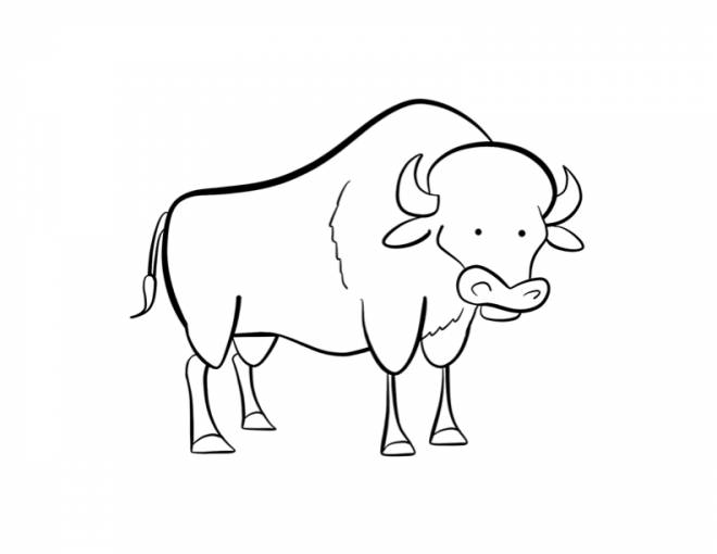 Free coloring and drawings Humorous bison Coloring page