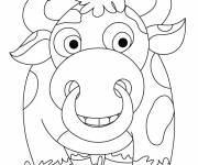 Coloring pages Multicolored bison smiling
