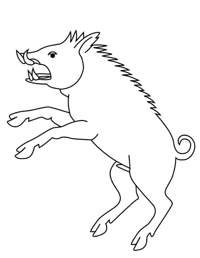 Free coloring and drawings Boar in black and white Coloring page