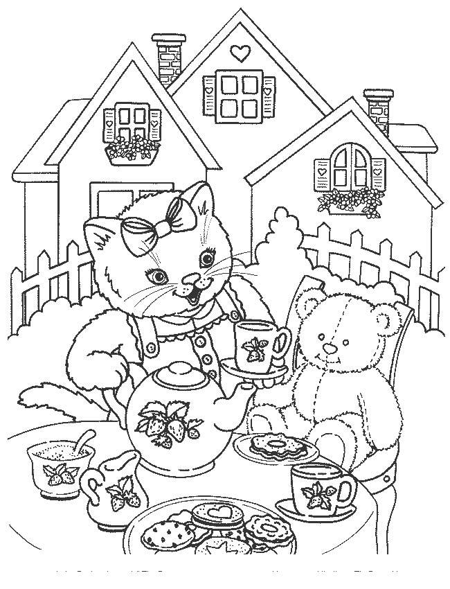 Free coloring and drawings A cat and her soft toy in the garden Coloring page