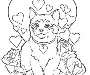 Coloring pages Cat and hearts