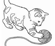 Coloring pages Cat playing