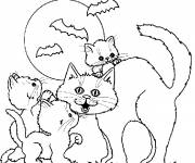 Coloring pages Halloween and kittens drawing
