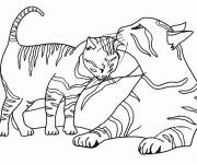 Free coloring and drawings Kitten and his mother Coloring page