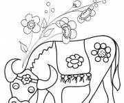 Coloring pages Beef and flowers