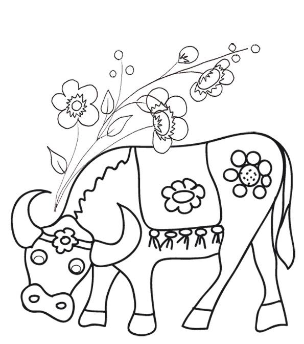 Free coloring and drawings Beef and flowers Coloring page