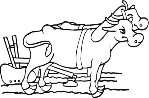 Free coloring and drawings Beef at work in the field Coloring page