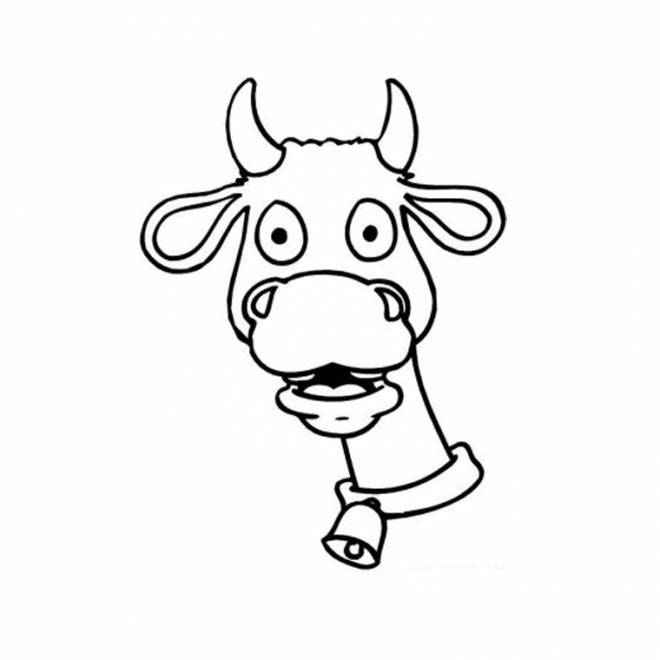 Free coloring and drawings Cow head Coloring page