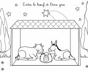 Coloring pages Jesus with the Donkey and the Ox