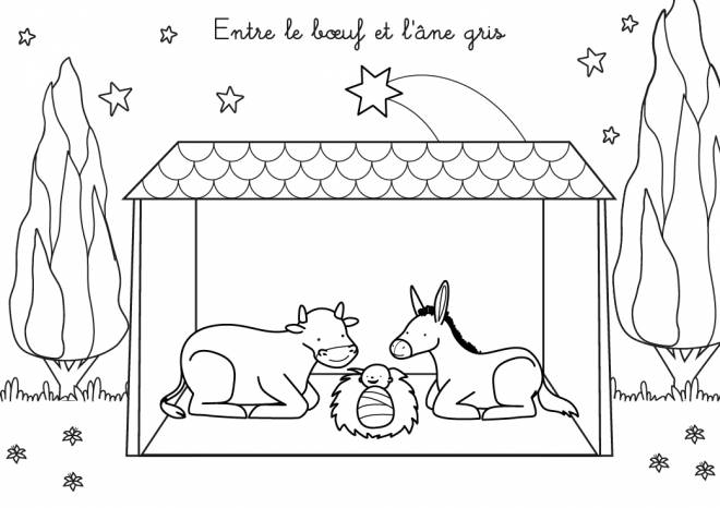 Free coloring and drawings Jesus with the Donkey and the Ox Coloring page