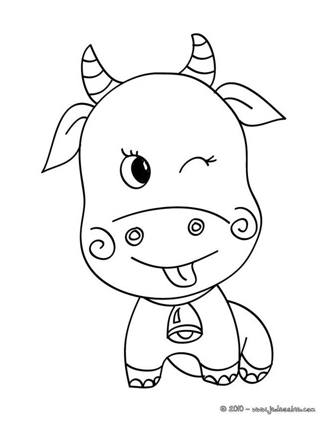 Free coloring and drawings Smiling ox Coloring page