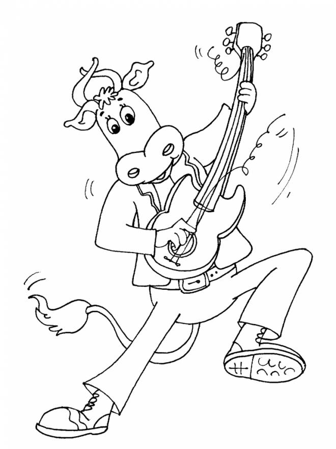 Free coloring and drawings A bull plays the guitar Coloring page