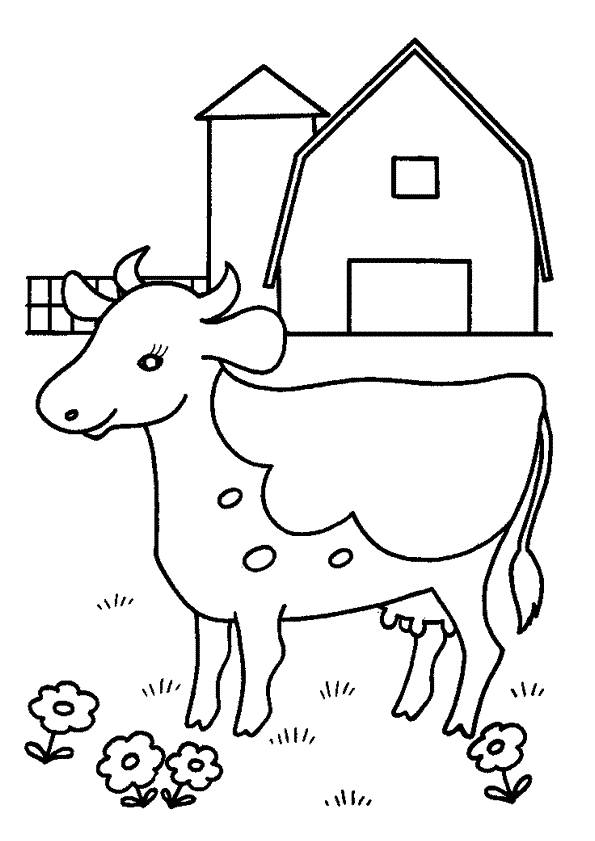 Free coloring and drawings A cow in the meadow Coloring page