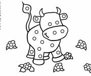 Free coloring and drawings Cow and flowers Coloring page