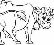 Free coloring and drawings Cow carrying bell Coloring page