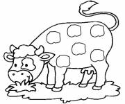 Free coloring and drawings Cow eats Coloring page