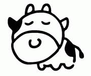 Free coloring and drawings Cow sleeping Coloring page