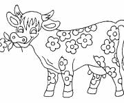 Free coloring and drawings The flowered cow Coloring page
