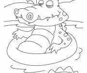 Coloring pages Crocodile in the water