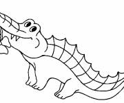 Coloring pages Crocodile wears a flower