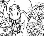 Coloring pages Attacking dinosaur