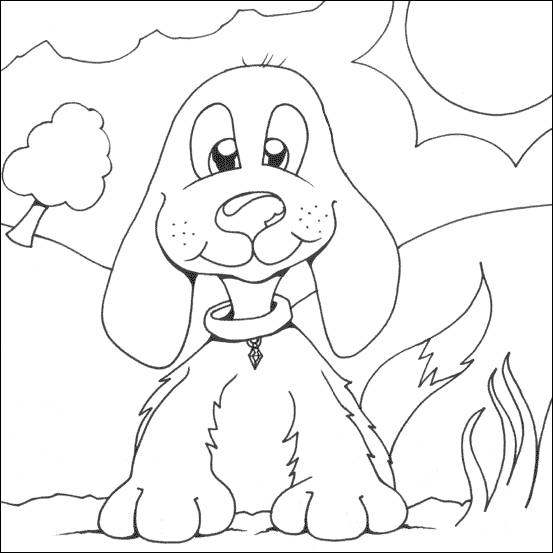Free coloring and drawings funny little dog Coloring page