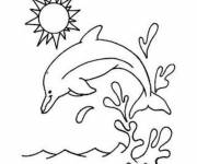 Coloring pages Dolphin in the sky