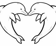 Coloring pages Dolphins heart