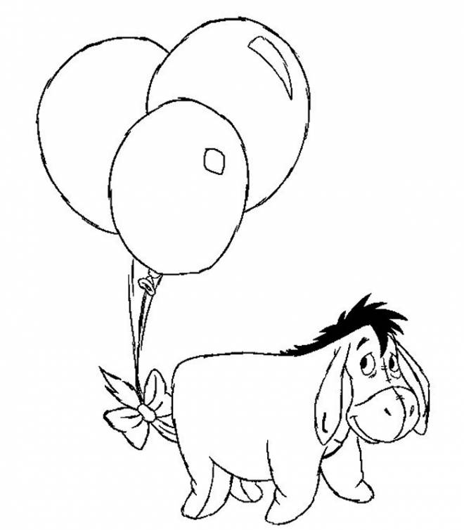 Free coloring and drawings A donkey carrying balloons Coloring page