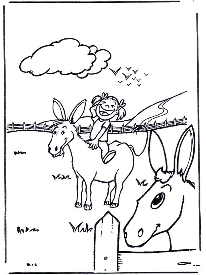 Free coloring and drawings A girl on a donkey Coloring page