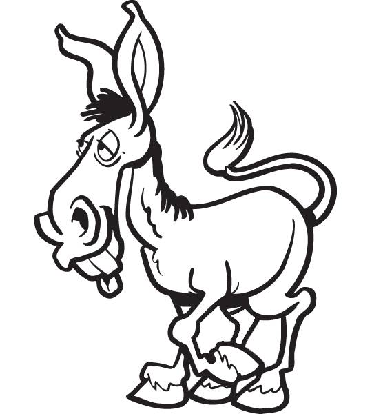 Free coloring and drawings A lazy donkey Coloring page
